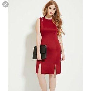 Burgundy Dress with Slits